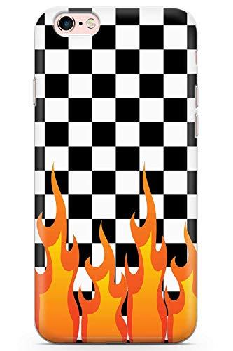 iPhone 6 / 6s Designer Checkered Feuer Schutz Gummi Handyhülle TPU Bumper Prüfen Feuer Flames Schlittschuh Mode -