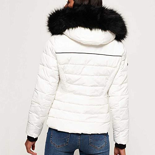 Superdry Damen Sportjacke Glacier Biker Jacket, Weiß (Bianco 04c), X-Large (Herstellergröße: 16.0)