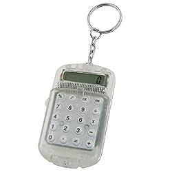 Clear Plastic Casing 8 Digits Electronic Mini Calculator w Keychain