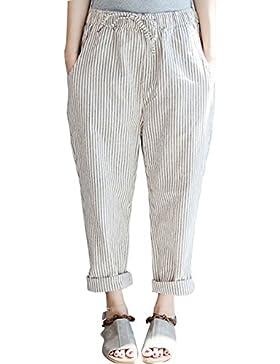 Youlee Mujeres Verano Cintura elástica A rayas Pantalones
