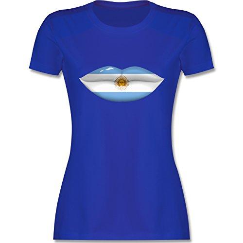 Länder - Lippen Bodypaint Argentinien - tailliertes Premium T-Shirt mit Rundhalsausschnitt für Damen Royalblau