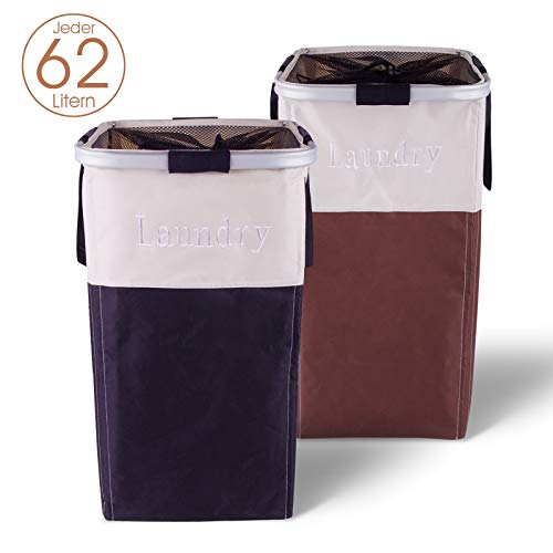 OOTOO Wäschekorb 62L 2xWäschekörbe Wäschesammler Laundry Basket mit Griffen für Waschküche, Bad oder Schlafzimmer 34 x 34 x 54 cm