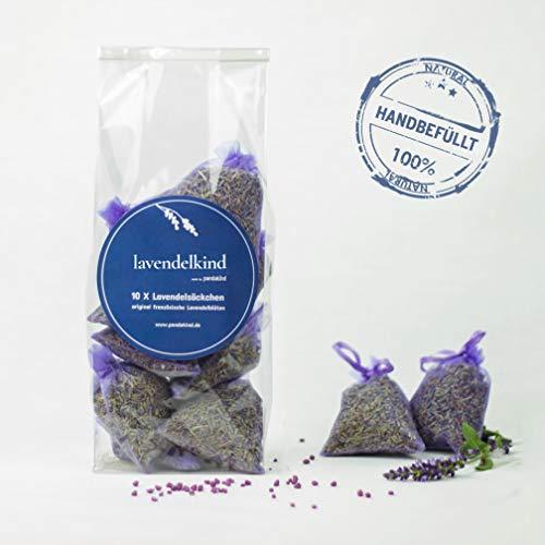 10x Lavendelsäckchen+Haken zum Aufhängen | 100g getrocknete Lavendelblüten | Natürliche Mottenfalle | Duftsäckchen für Kleiderschrank Duft