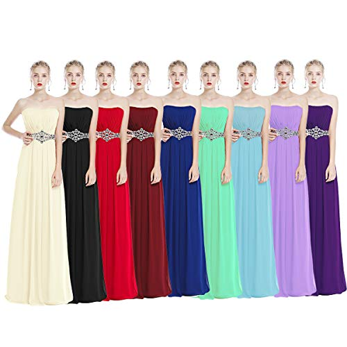 IWEMEK Women's Bridesmaids Formal Chiffon Wedding Prom Dress Strapless Sleeveless Maxi Long Dress Girls Cocktail Evening Pageant Party Gowns Floor Length Solid Color Dress Plus Size UK 6-26