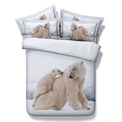 LifeisPerfect JF096 Eisbär Mutter und Baby Drucken 5 Stück Winter Tröster, Einzelzimmer Doppelzimmer Queen Super King Size Bett in Einem Beutel Quilt (King-size-bett In Einem Beutel)