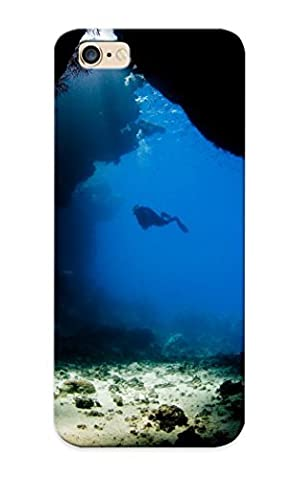 Hard Plastic Iphone 6 Plus Case Back Cover, Hot Scuba Diving Diver Ocean Sea Underwater Cave Case For Christmas's Perfect Gift