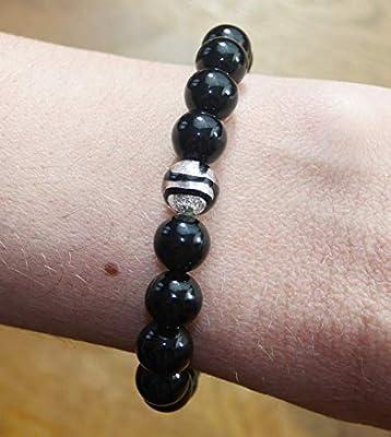 Bracelet Femme Agate Noire et Perle de Murano avec Feuille d'Argent - Pierre Naturelle - Lithothérapie