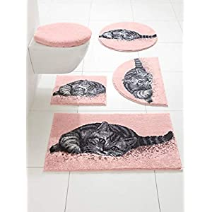 Grund Badematte Badvorleger Katze 100% Polyacryl Rutschhemmend Fußbodenheizung geeignet, Größe:90 x 160 cm