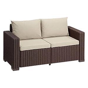"""Allibert by Keter"" Gartenlounge Sofa California 2-Sitzer, braun/panama taupe, inkl. Sitz- und Rückenkissen, Kunststoff, runde Rattanoptik"