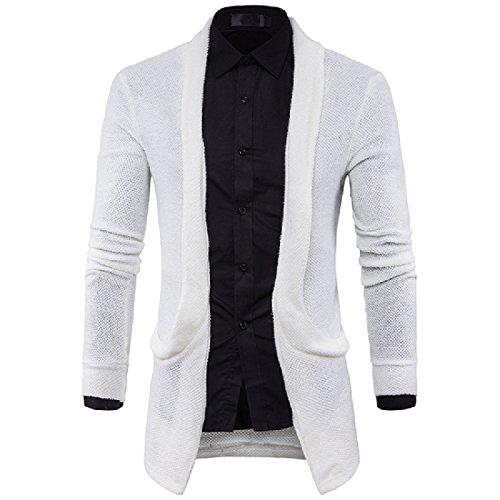 Tootlessly-Men Solid Cardigan Knitwear Pockets Loose Outwear Coat Sweaters
