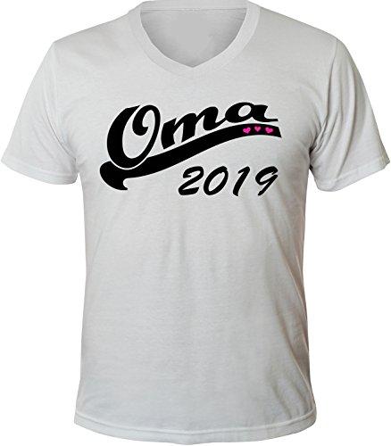 Mister Merchandise Herren Men V-Ausschnitt T-Shirt Oma 2019 Tee Shirt Neck bedruckt Weiß