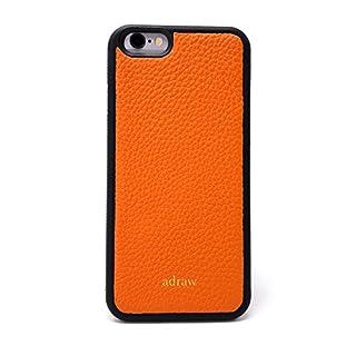 adraw iPhone 6/6s Echtleder Case, edle Schutzhülle, Luxus Handyhülle, Leder Case, Hülle, echt Leder Etui (Apple iPhone 6 / 6S, Orange)
