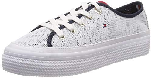 Tommy Hilfiger Damen Tommy Jacquard Flatform Sneaker, Weiß (White 100), 41 EU
