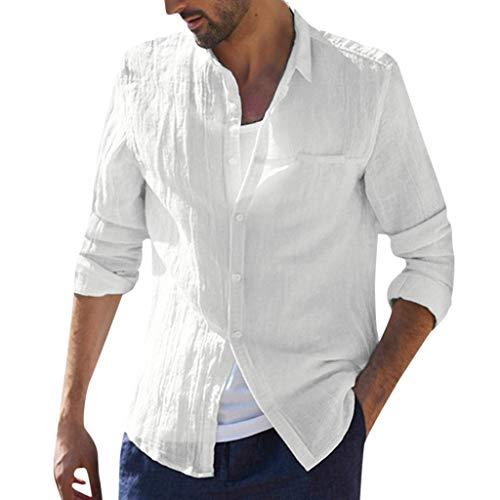 Zolimx Herren Freizeithemd Männer Sommer Hemd Casual Regular Fit Oberteile Männer Baggy Baumwolle Leinen Solide Langarm Knopf Retro T Shirts Tops Bluse