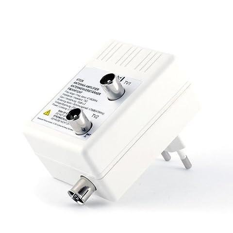 Antennen- Verstärker für DVB-T + Kabel TV + Radio / Verteilverstärker   2 Geräte-Verstärker   optimale Signalverstärkung von 2× 15 dB   Full HD 1080p   DVB-T / DVB-T2   DVB-C   Radio (UHF, VHF, UKW)