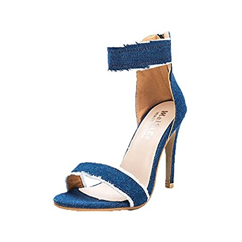 Huihong Damen Pumps Fashion High Heels Schuhe Hochzeit Damen Denim High-Heels Sandalen (36,
