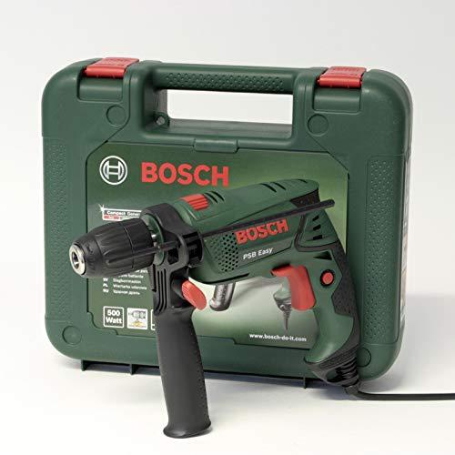 Bosch PSB Easy - Trapano battente avvitatore 500W, mandrino autoserrante, regolazione elettronica, rivestimento Softgrip, in valigetta di plastica