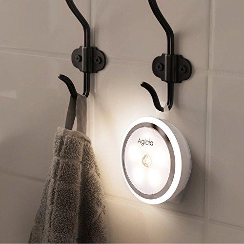 Aglaia Lámpara LED para Pared, Luz Nocturna Recargable con Sensor de Movimiento, 5 LED Luces Inalámbrica con 2 Modos de Iluminación, Blanca Natural para Eacaleras Pasillo