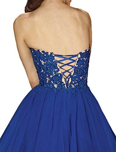 Victory Bridal Glamour Herzform Minikleider Abendkleider Kurz Chiffon Tanzkleider Cocktailkleider Brautjungfernkleider Royal Blau