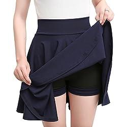 Grandes Tailles Jupe Plissée Patineuse Courte Femme Taille Haute d'été Jupe Court Midi Jupe S Marine