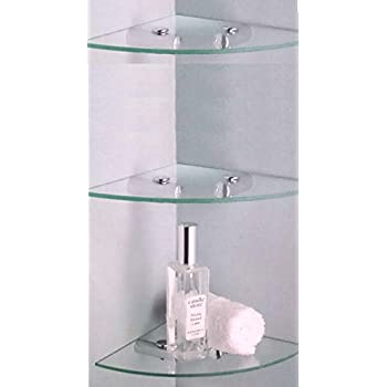 3 X GLASS CORNER SHELF IDEAL BATHROOM SHELVES