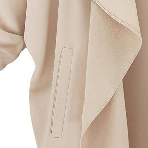 Yalatan Long Sleeve Solid Jackets Casual O-neck Open Stitch Loose Coat Jacket Kaki
