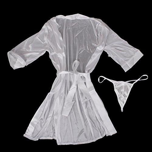 Fenteer Donne Camicia Da Notte Pigiama Accappatoi Vestaglie Kimono bianca