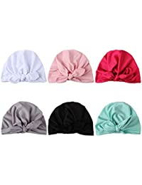 COUXILY Baby Hat 6 Unids Recién Nacido Elastico Stretch Head Wrap Infantil  Turbante Niño Bebé Nudo 907bd569c9c