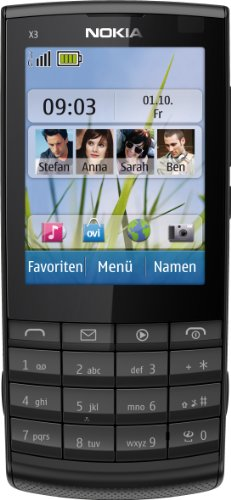 Nokia X3-02 Handy (6.1cm (2.4 Zoll) Touch&Type Display, Bluetooth, WLAN, microSD, 5 MP Kamera) dark metal -