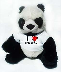 Peluche panda avec J'aime Ferroudja (Noms/Prénoms)