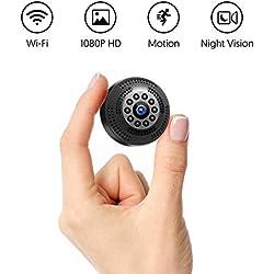 Victure Cámara Espia/Oculta 1080P Mini WiFi Cámara de Seguridad Inalámbrica portátil y Recargable Interior/Hogar con visión Nocturna por infrar Rojos/Detección de Movimiento