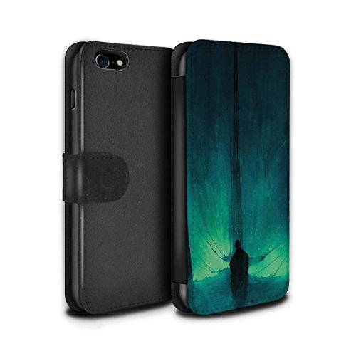 Offiziell Chris Cold PU-Leder Hülle/Case/Tasche/Cover für Apple iPhone 7 / Schwarzen Flügeln Muster / Dunkle Kunst Dämon Kollektion Bösen Herzens