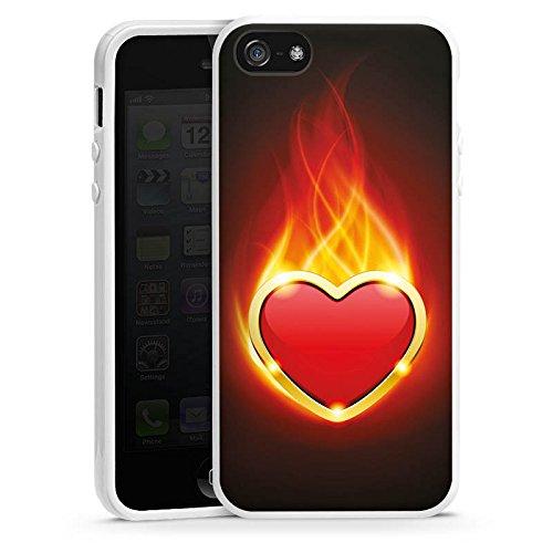 Apple iPhone 4 Housse Étui Silicone Coque Protection C½ur Flammes Housse en silicone blanc