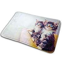 "hdyefe Non-Slip Stain Fade Resistant Door Mat Cat Kitten Living Room Rug Carpet 15.7"" X 23.5"" fine 2414"