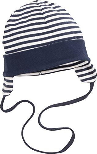 Schnizler Unisex Baby Mütze Bindemütze Marine Geringelt mit Ohrenschutz, Oeko-Tex Standard 100, Blau (Marine/Weiß 171), Medium (Herstellergröße: 47cm)