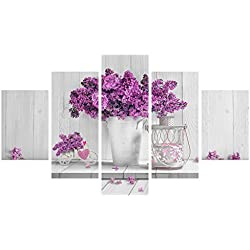 Quadro moderno 5 piezas de madera Vogue 48 x 85 cm Purple Flowers