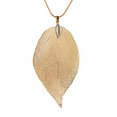 feiXIANG Blätter Anhänger Halskette Damen Lange Kette Strickjackekette Frau Schmuck (Gold,Freie Größe)