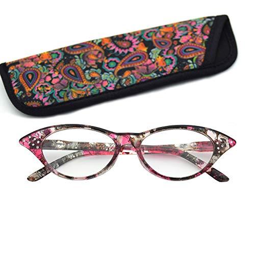 D&XQX Vista Brille für Lesebrille mit Rahmen aus leichtem Glas für Vista +2.00 rot - 525 Brillen
