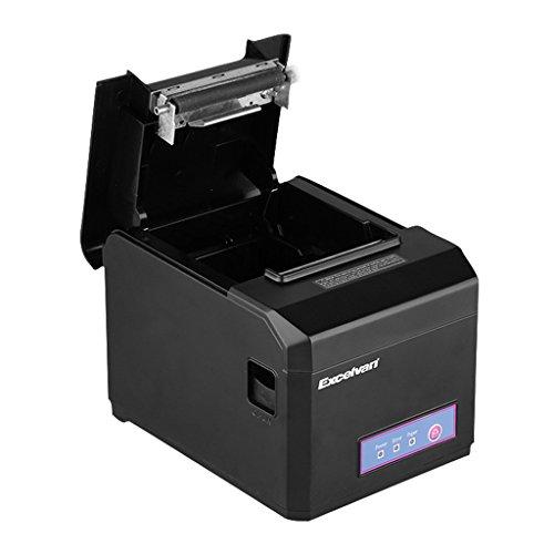 Excelvan - Impresora térmica WIFI de recibos y tickets (interfaz USB, 80mm, 300mm/sec, compatible con Andriod, iOS, Windows y Linux), Negro