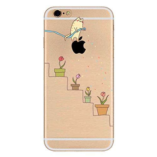 iPhone 6 Hülle,iPhone 6S Case, TPU Cute Funny Kreative Cartoon Transparent Silikon ultra-dünn schützt Hülle - Katzen Bewässerung Topfpflanzen Blumen