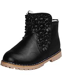 Tufanyu Kleine Kinderschuhe Mädchen Knöchel Bootie Reiten Sneaker 2 Bands Schnürung Seitenzipper Geschlossene Zehe Einfacher Verschleiß ( Color : Black , Size : 27 EU )