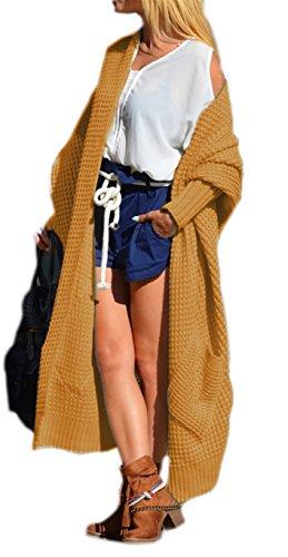 Mikos Cardigan Manica Lunga Donna Asimmetrico allentato - Giacca Aperta - Maglia Grande - All Seasons - Taglia Unica (658) (Curry)
