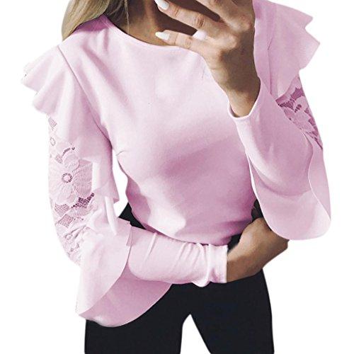Honestyi Damen Langarmshirts, Damen elegant Solide Lange Ärmel Spitze Nähen O-Ausschnitt T-Shirt Oberteile Reizvoller Bluse langarmshirts 3 Farben (S, Rosa)