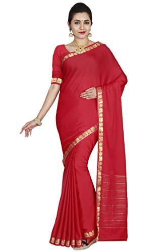 arars Women's Mysore Silk Saree, Crepe Silk Saree (208 CR MAROON)