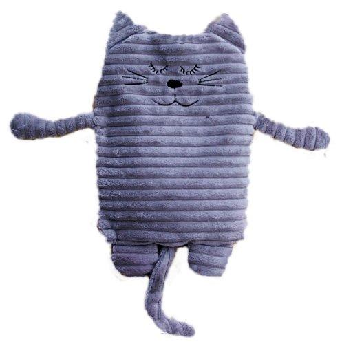 Inware 8788 - Peluche Chat, gris, 17 x 26 cm, pour le chauffage au micro-ondes, remplissage amovible