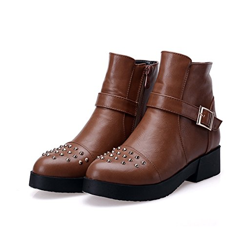 YE Damen Herbst Plateau Stiefeletten mit Blockabsatz Nieten Schnallen Reißverschluss Short Ankle Boots Schuhe Braun