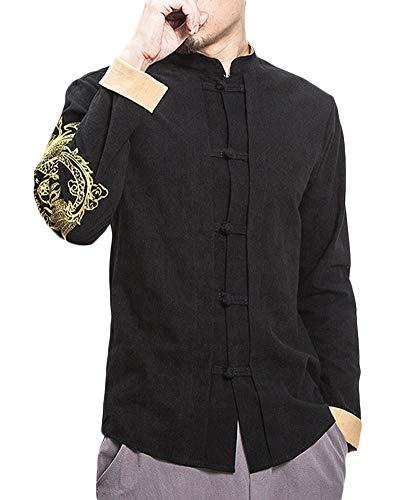 Herren Drucken Langarm Hemden Mantel Baumwoll-Leinen-Mischung Retro Chinesischen Stil Jacke Tang-Anzug Schwarz S -