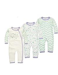CuteOn 3 paquetes Bebé Chicos Chicas niños Manga larga body Pijama Los niños pequeños ...