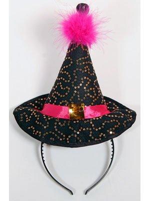 Halloween Kopfbügel Hexenhut Mini schwarz pink (Halloween Kopfbügel)