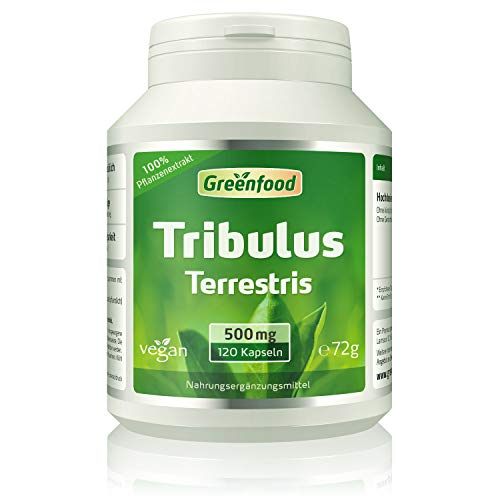 Tribulus Terrestris, 500 mg, hochdosierter Extrakt (80% Saponine), 120 Kapseln, vegan – OHNE Zusätze. Ohne Gentechnik. Vegi-Kapseln.